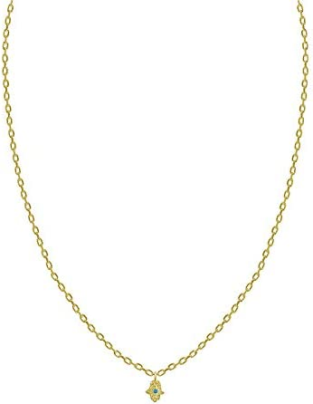 Sparkling Tiny Hamsa Pendant in Yellow Gold for Women and Girls Dainty Jewelry product image