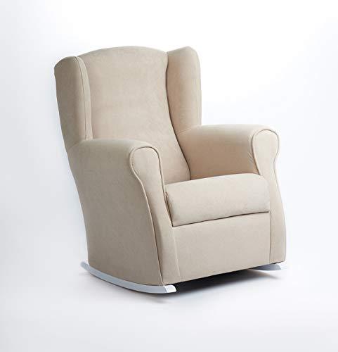 Butaca Lactancia Rodero o mecedora- Tela Antimanchas (Acualine). Medidas: 96 * 74 * 78 cm. Ideal para amantar y balancear al bebe para dormirlo.… (beige)