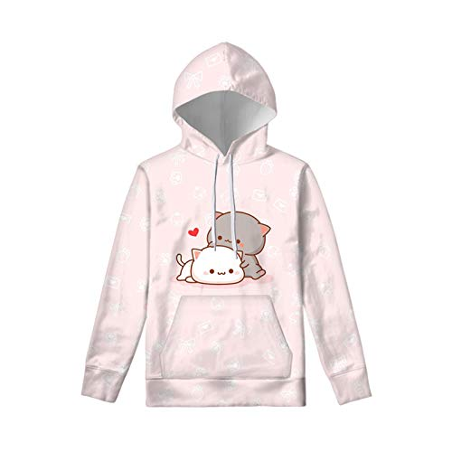 WELLFLYHOM Cute Cartoon Cat Drawstring Hoodies Pullover Sweatshirt for Girls 8-10 Years Juniors Kids Loose Sweater Long Sleeve Hooded Jacket with Pockets Pink