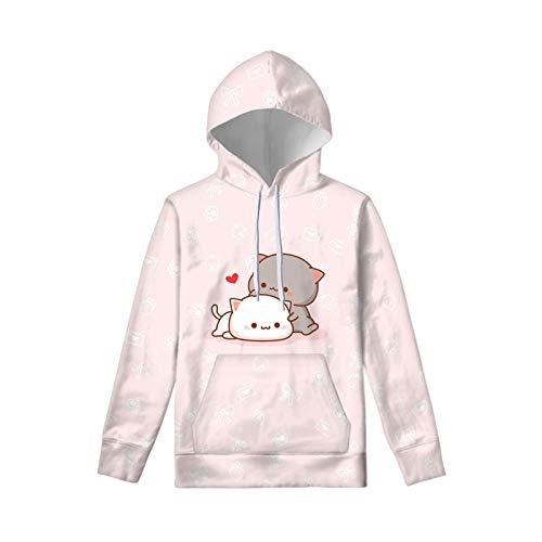 WELLFLYHOM Cute Cartoon Cat Drawstring Hoodies Pullover Sweatshirt for Girls 14-16 Years Juniors Kids Loose Sweater Long Sleeve Hooded Jacket with Pockets Pink