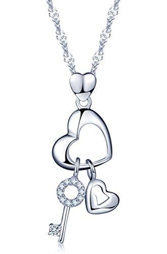 Unendlich U Einzigartig Schlüssel Schloss Herzen Damen Halskette 925 Sterling Silber Zirkonia Anhänger Verstellbare Kette, Silber