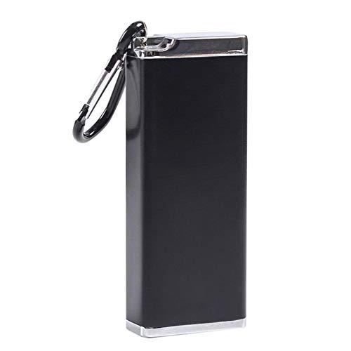 Bemin シガレットケース 8本収納可 タバコケース タバコ箱 ロング たばこケース ステンレス シガーケース 防水 灰皿 タバコ ケース 金属 キングサイズ たばこ 軽量 スリム ミニ ブラック 3.9*1.9*9.8cm