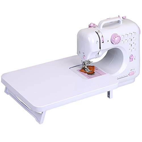 Kids Sewing Machine for beginners Girls Kids age 7-12 , Electric Household Portable Mini Sewing Machine Art Craft with Extension table lamp Foot Pedal Double Speed for Easy Home Travel