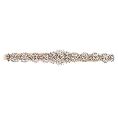 SM SunniMix Elegante Brautgürtel Hochzeitsgürtel Schärpe mit Strass Applikation, passt an Allen Brautkleid und Abendkleid - Champagner, 41 x 5 cm