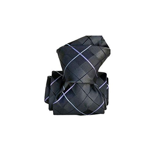 Segni et Disegni. Cravate classique. liverpool, Soie. Gris, carreaux. Fabriqué en Italie.