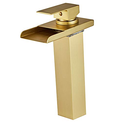 Wovier Brushed Gold LED Waterfall Spout Bathroom Sink Faucet with Supply Hose,Single Handle Single Hole Vessel Lavatory Faucet,Slanted Body Basin Mixer Tap Tall Body Commercial