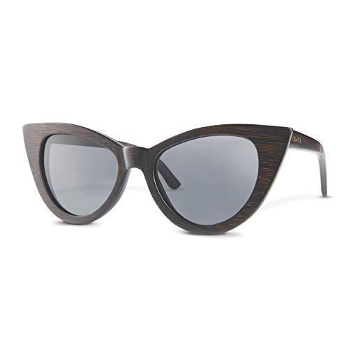LEMIEL PREMIUM ÖKÖ Holz Sonnenbrille - Vintage Cateye aus Holz - Aus robustem Bambus - Holzbrille mit polarisierten UV-Schutz Gläsern - Hochwertige Bambusbrille - inkl. Etui aus edlem Bambusholz