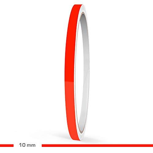 Motoking Zierstreifen, Neon Rot Fluoreszierend, 10 mm Breite, 10 m Länge, RAL 3026, Aufkleber Folie Auto Boot Motorrad Wohnmobil Wohnwagen & mehr