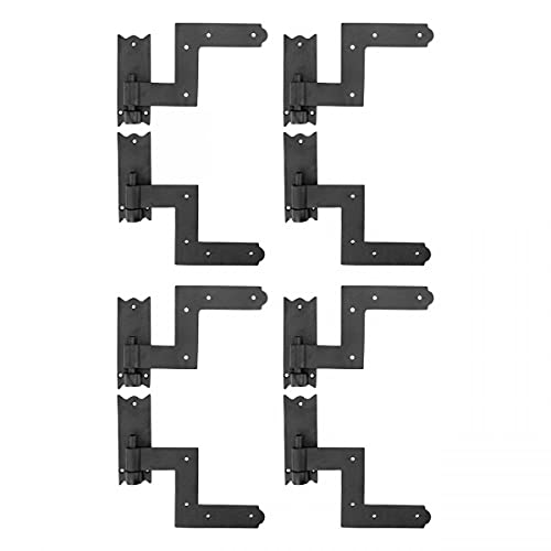 Renovators Supply Manufacturing Black Wrought Iron Shutter Lift Off Pintle Hinges 6 1/2 Inches Long Colonial Pin Reversible Hinges For Doors, Window And Shutters With Hardware Sold As Pair Pack Of 4