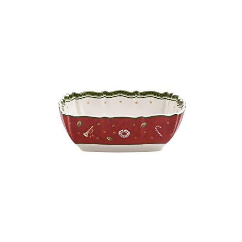 Villeroy & Boch Toy's Delight Plat creux carré, Porcelaine Premium, Blanc/Rouge