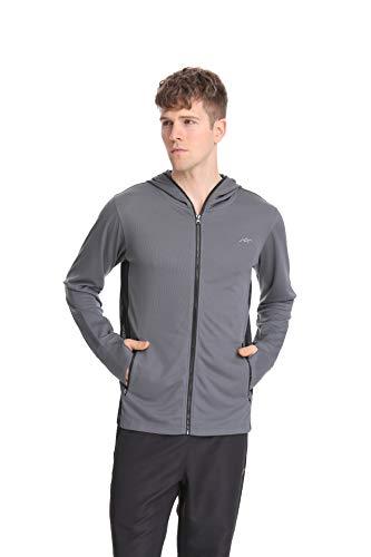 TRAILSIDE SUPPLY CO. Men's Zip Up Hoodie Stretch Sweatshirts,Lightweight Grey XL