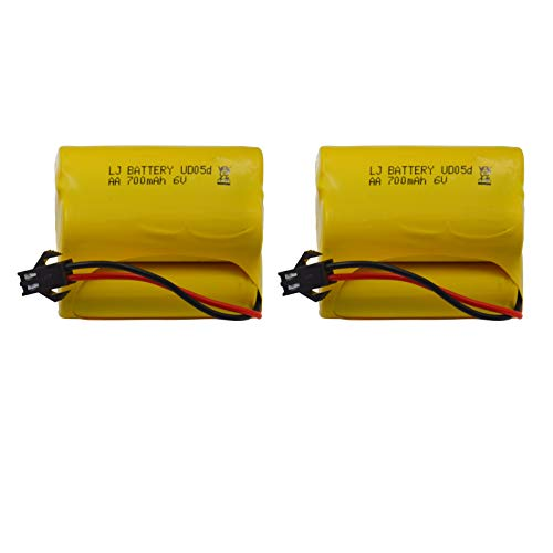 Blomiky Staked Trapezoid 6.0V 700mAh Nicd Rechargeable Battery for Solar Outdoor Lighting,Electric Tools and Stunt Car and Q60 Q61 1/16 Military RC Truck SL01 Battery 2 Pack