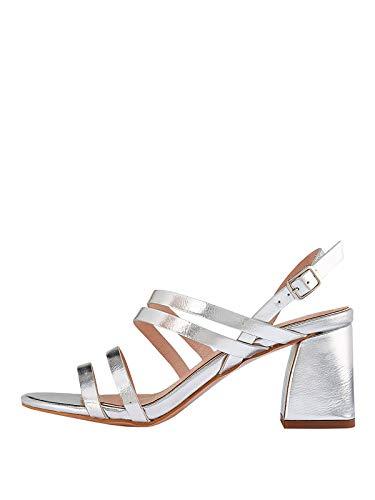 Marypaz, Sandali con tacco largo, metallizzato, da donna, con strisce multiple, colore: argento Argento Size: 36 EU