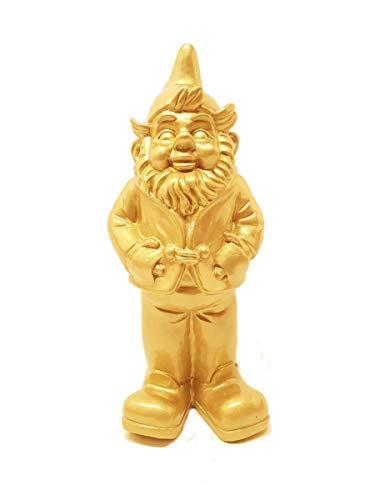 Stoobz Lustiger Gnom Gold | Lustiger Gartenzwerg Gold aus Polyresin (Regen- und frostbeständig | Höhe 32 cm | Gold | Dekorationsartikel für Haus und Garten