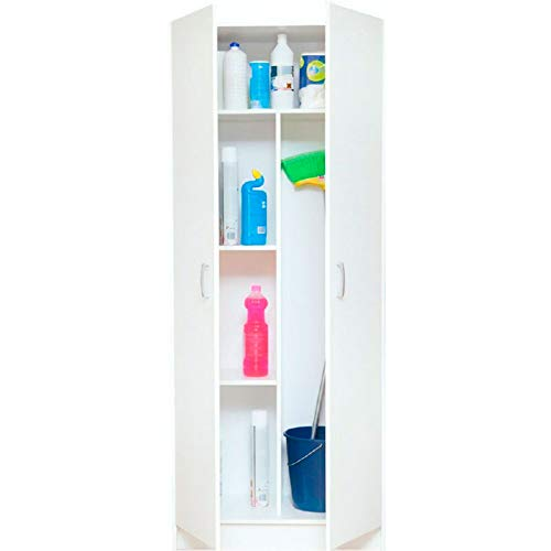 Sbrico Armario Multiusos - Mueble Auxiliar con Escobero, Color Blanco con 2 puertas y 3 Baldas de Fácil Instalación, Dimensiones: 180 x 73 x 37 cm de Fondo