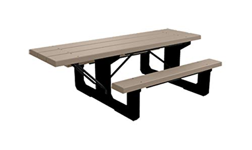 Kirby Built Products BarcoBoard Plastic Walk-Thru Wheelchair Accessible Picnic Table (Desert Tan)