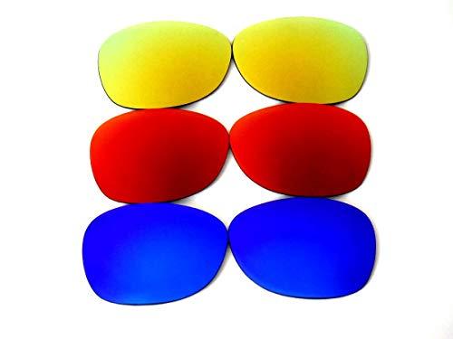 GALAXYLENSE Lentes de reemplazo para gafas de sol de Ray-Ban RB2132 New Wayfarer para hombre o mujer 52x1.5x38 Regular Azul y Rojo y oro