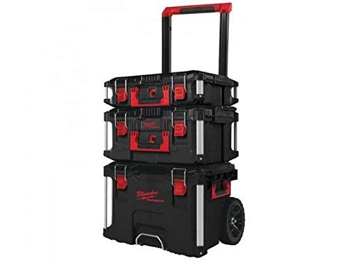 Milwaukee Packout Promo 4932464244 Trolley groß mit Koffer-Set 3 TLG, Black-Red