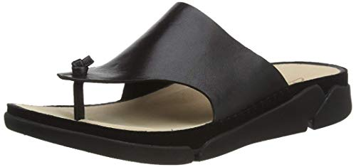 Clarks Damen Tri Toe Post Zehentrenner, Beige (Black Leather Black Leather), 36 EU