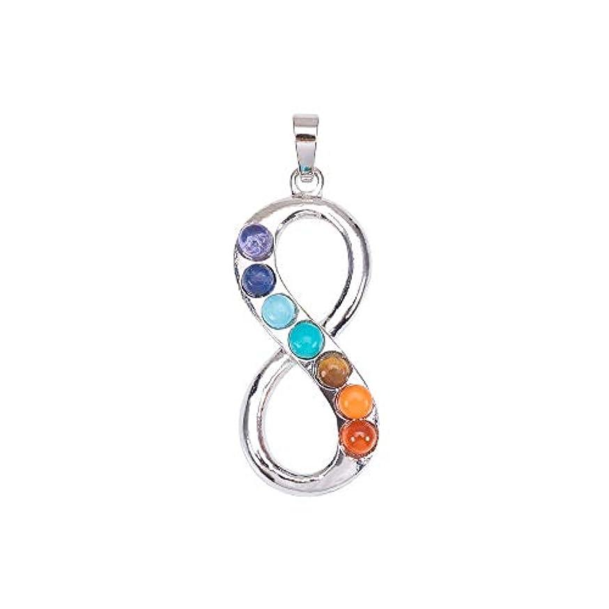 Pandahall 1PCS 7 Chakras Natural Quartz Gemstones Beads Pendant Healing Point Chakra Reiki - Infinity Style