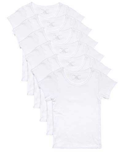 Rene Rofe Girl Crewneck Undershirt (6 Pack), White, X-Small/4-5
