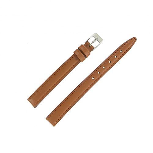 Shopkdo - Correa de reloj de 12 mm, color marrón dorado, extra larga de piel, fabricación artesanal