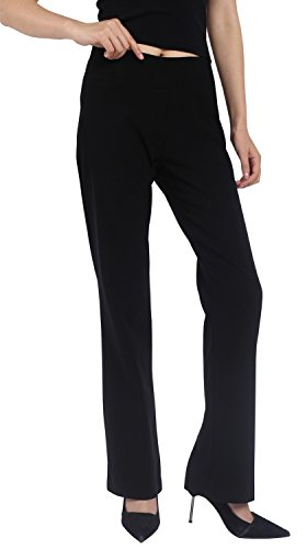 Foucome Dress Pants for Women-Slim Bootcut Stretch High Waist Trousers with All Day Comfort Pull On Style (Black, US 18-New)