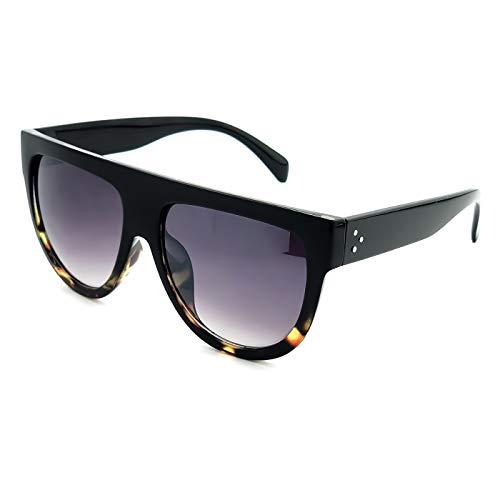 KISS Gafas de sol Flat Top mod. CRAZY HORNY - vintage oversize MUJER 50s 60s fashion - NEGRO + HAVANA