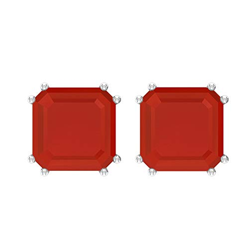 Rosec Jewels 10 quilates oro blanco asscher Red Ónice rojo