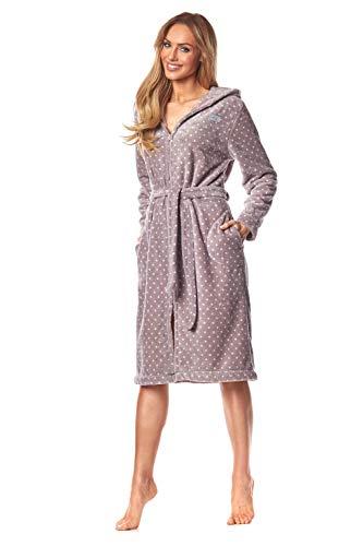 L&L - 9156 Long Luxury Toweling Damen Weicher Langarm Bademantel. Extrem Leicht. Hausmantel mit Reißverschluss in Voller Länge mit Kapuze für Damen. (Dots Purple Pink, Medium)