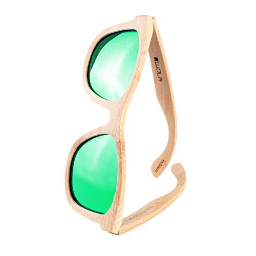 WOLA Bambus Holzsonnenbrille SURF Sonnenbrille Holz Herren und Damen grün verspiegelt