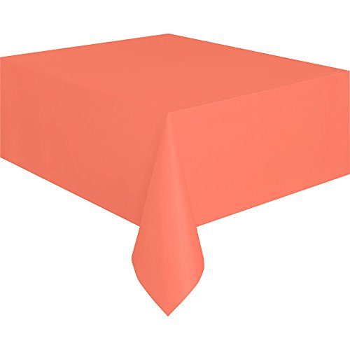 "Coral Plastic Tablecloth, 108"" x 54"""