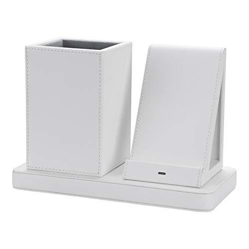Estación de Cargador inalámbrica 10W Compatible con Dispositivos habilitados Qi Base de Carga inalámbrica + Titular de la Pluma Dock de Carga del teléfono (Color : White)