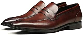 Hoog Men's Leather Slip-On Penny Loafers Dress Shoes Formal Leather Shoes, Brown