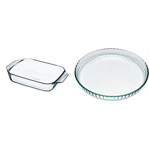 Pyrex - Irresistible - Plat à Four Rectangulaire en Verre, 39 x 25 cm & 1040902 Bake & Enjoy Moule à Tarte en verre Ø 28 cm