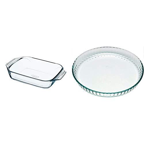 Pyrex Irresistible Teglia rettangolare in vetro borosilicato, 31x20x6,5cm & Bake&EnjoY Stampo crostata in vetro borosilicato 28x3,6cm