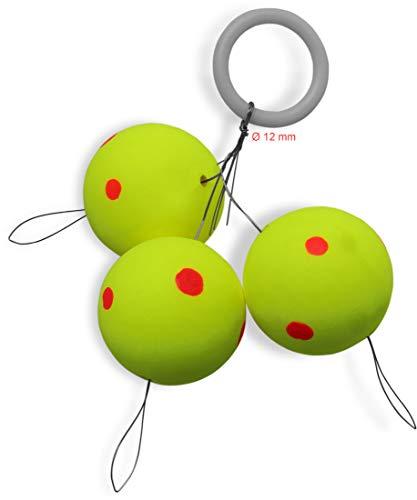 Storfisk fishing & more Pilotkugeln zum Angeln auf Forellen Fixpiloten Posen - Gelb mit roten Punkten - 3er oder 12er Set, Durchmesser:18 mm