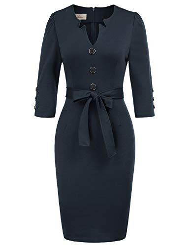 GRACE KARIN Women 3/4 Sleeve Work Office Pencil Dress with Belt XXL Navy Blue