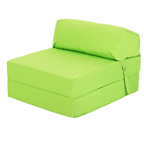 Ready Steady Bed Guest Foldable Z Bed Chair   Water Resistant Removeable Cover   Sleepover Sofa Futon Mattress   Bedroom Living Room Furniture   Soft, Lightweight & Comfortable Ergonomically Designed (Lime)