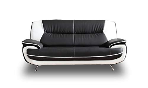 Sofa Onyx 3-Sitzer Kunstledersofa Couch Farbauswahl (schwarz-weiß)