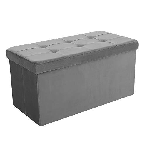 SONGMICS Faltbarer Sitzhocker, Sitzbank mit Stauraum, bis 300 kg belastbar, Samt, 76 x 38 x 38 cm, grau LSF43GY