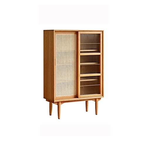 JDJD Sideboard Solid Wood Rattan Bookcase Moderno Minimalista Hogar Sala De Estar Almacenamiento Aparador (Color : Tall Style (Pine))