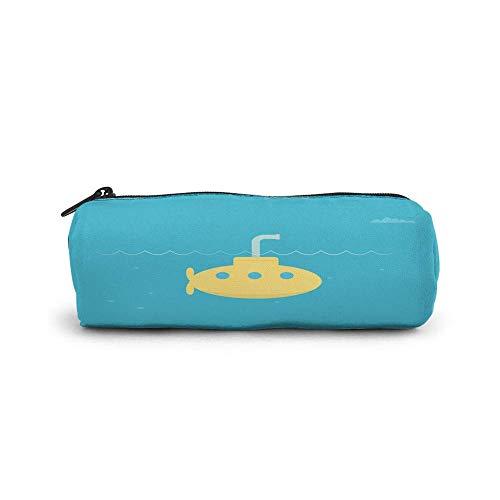 SWKLL Zylinder Bleistiftetui Student Briefpapier Beutel Tasche Office Storage Organizer Münzbeutel Kosmetiktasche, kindisch simplistisches Design des U-Boot-Ozean-Periskops