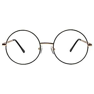 丸型めがね 大きめ 小顔効果 丸メガネ 丸眼鏡 伊達メガネレンズ UVカット機能復古デザイン ノーズパッド ファッション クラッシク35284 (ゴールド黒の線)