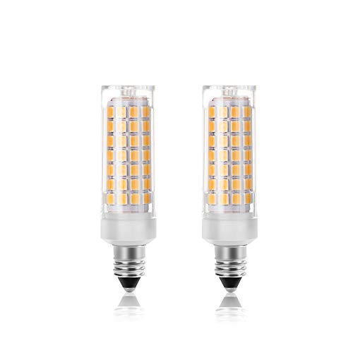 E11 Led Light Bulbs Dimmable, 7.5W(75W Ceiling Fan Halogen Bulb Equivalent), 75W Halogen Bulbs Replacement, JD E11 Mini Candelabra Base, Warm White 3000K, T3 T4 Led Bulbs for Chandeliers, Pack of 2