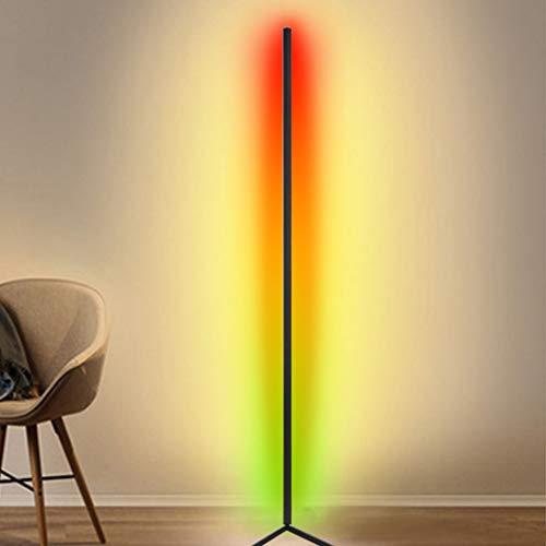 JAKROO LED Stehlampe, Dimmbar mit Fernbedienung Stehleuchte für Wohnzimmer Schlafzimmer Farbwechsel Lichtsaeule RGB Farbtemperaturen, Weiß schwarz