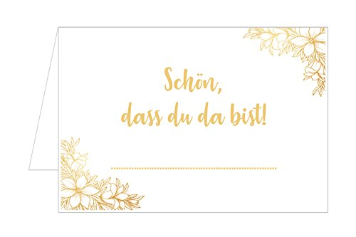 Edition Seidel Set 50 Premium Tischkarten Tischkärtchen Platzkarten Namenskarten Hochzeit - Geburtstag - Taufe - Kommunion - Konfirmation - Firmung - Jugendweihe - Goldene Hochzeit (Beige)