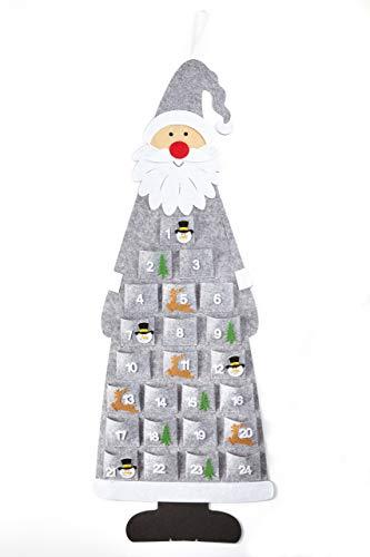 HEITMANN DECO Adventskalender Kinder Filz Santa - Weihnachtskalender zum Befüllen und Aufhängen mit Türchen - 1,16m Weihnachtsmann Nikolaus Grau Weiß