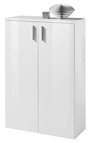 AVANTI TRENDSTORE - Lindo - Mobili da Ingresso in Laminato di Colore Bianco Lucido (Mobile con 2 Ante)
