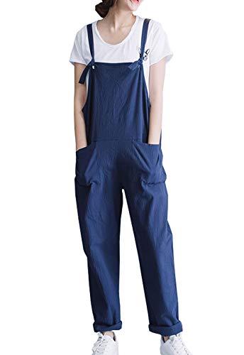 Flygo Women's Capris Adjutable Straps Cotton Overalls Jumpsuits Rompers Bibs Pants (Large, Blue)
